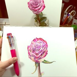 🌹Rose Drawing🌹, Original Ball Point Pen Art